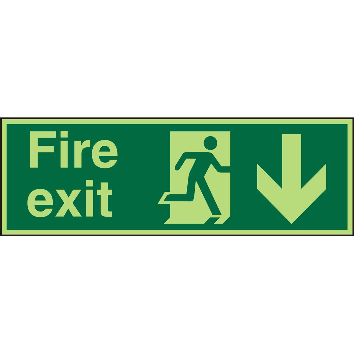 PhotolumSign SA FireExit Man Running Right&Arrow Down Ref PSP124SAV*Up to 10 Day Leadtime*