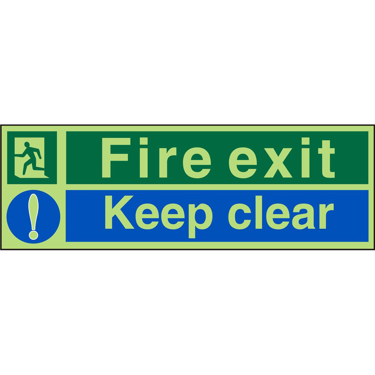Photolum Safe Sign 450x150 1mm Plastic Fire Exit Keep Clear Ref PSP126SRP450x150 *Up to 10 Day Leadtime*