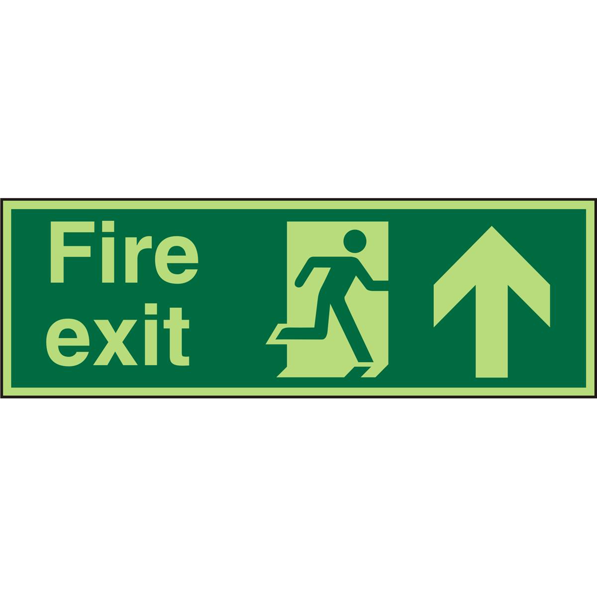 PhotolumSign 600x200 S/A FireExit Man Running Right&Arrow Up Ref PSP129SAV600x200 *Up to 10 Day Leadtime*