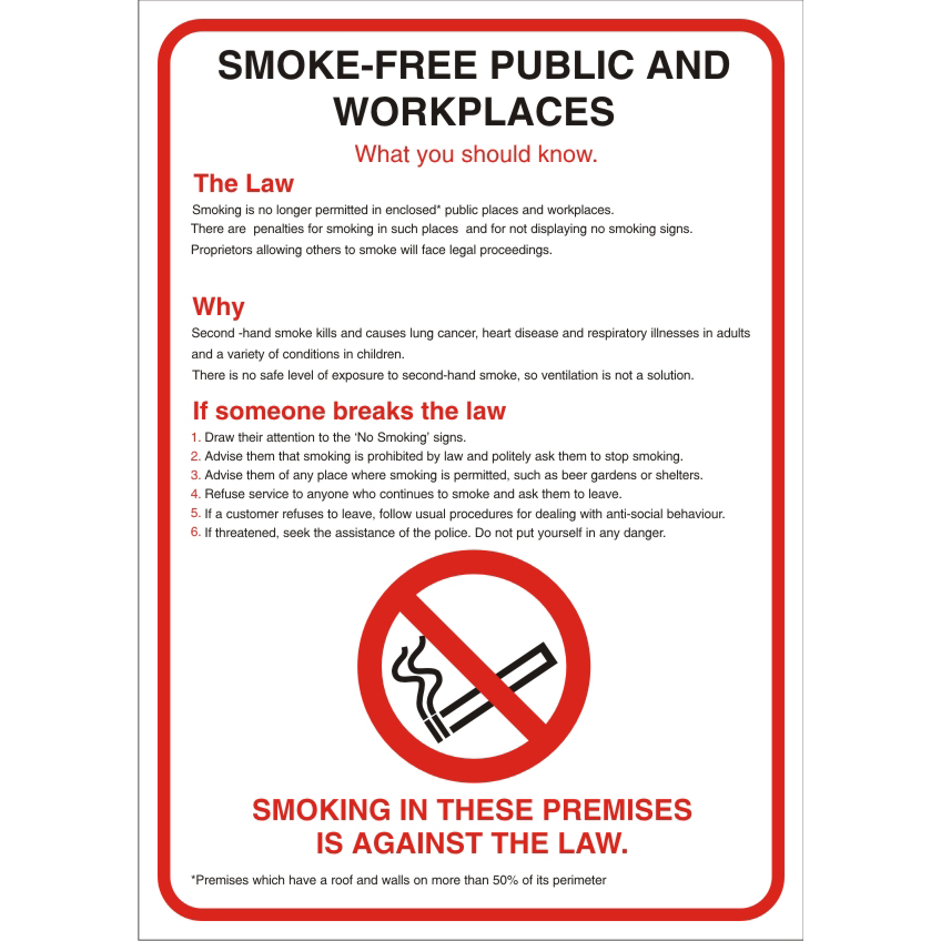 No Smoking Sign A2 S/A Vinyl Smoke-free Public & Work places Ref SB015SAV-A2 Up to 10 Day Leadtime