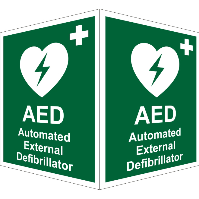 First Aid Protruding First Aid Sign 2 faces 150x200 each 1mm AED (Ext) Ref SP309SRP150x200 *Up to 10 Day Leadtime*