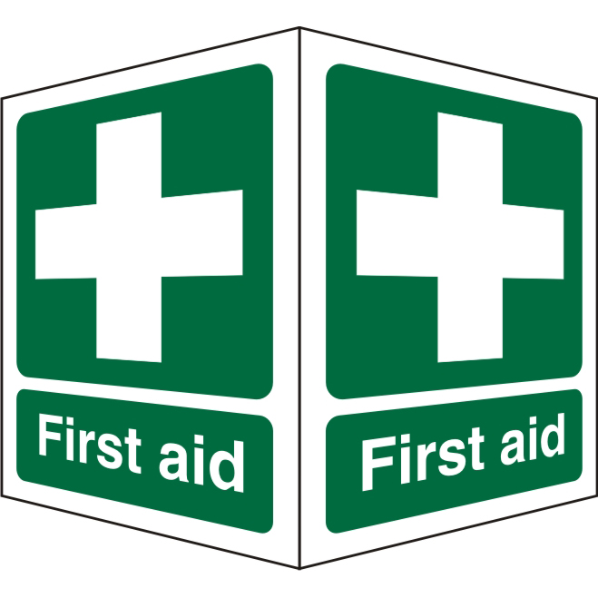 Protruding First Aid Sign 2 faces 150x200 each 1mm First Aid Ref SP310SRP150x200 *Up to 10 Day Leadtime*