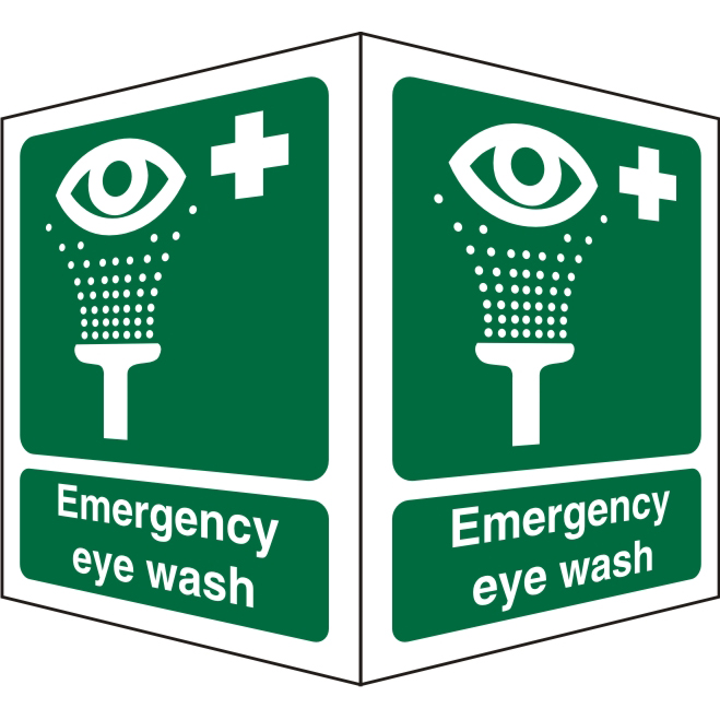 Protruding Sign 2 faces 150x200 each 1mm Emergency Eye Wash Ref SP311SRP150x200 Up to 10 Day Leadtime