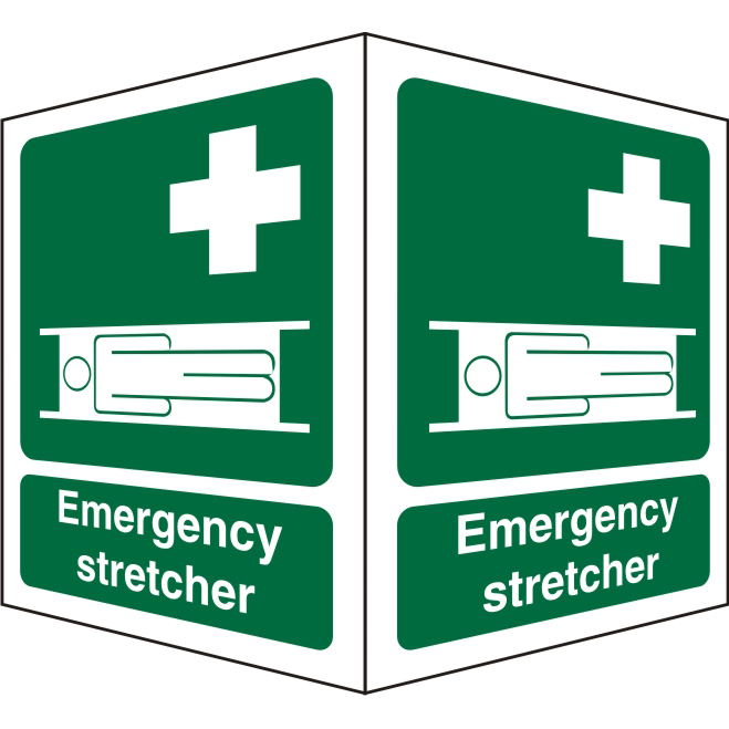 Protruding FirstAid Sign 2 faces each Emergency Stretcher Ref SP312SRP150x200 *Up to 10 Day Leadtime*