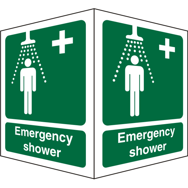 Protruding Sign 2 faces 150x200 each 1mm Emergency Shower Ref SP314SRP150x200 Up to 10 Day Leadtime