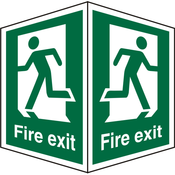 SafeSign 200x300 FireExit Man Running different directions Ref SP320SRP200x300 *Upto 10 Day Leadtime*