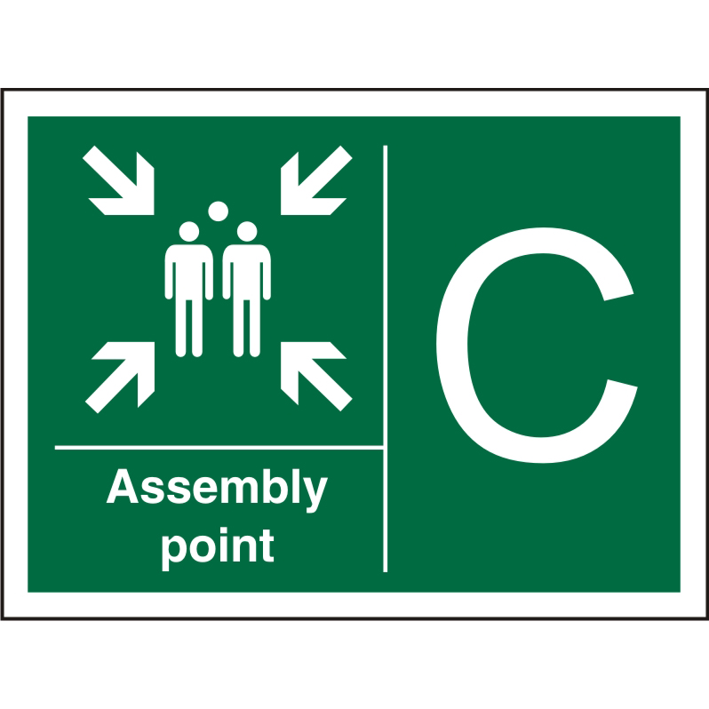 Safe Procedure Sign 600x400 1mm Plastic Assembly Point - C Ref SP323SRP-600x400 Up to 10 Day Leadtime
