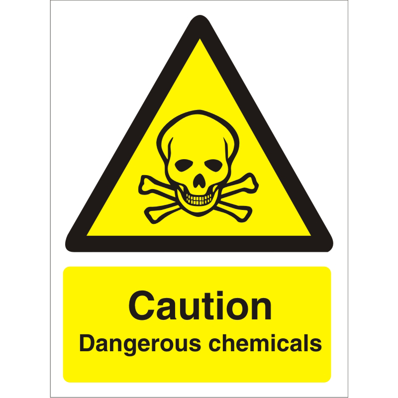 Warning Sign 300x400 1mm Plastic Caution Dangerous chemicals Ref W0142SRP300x400 *Up to 10 Day Leadtime*