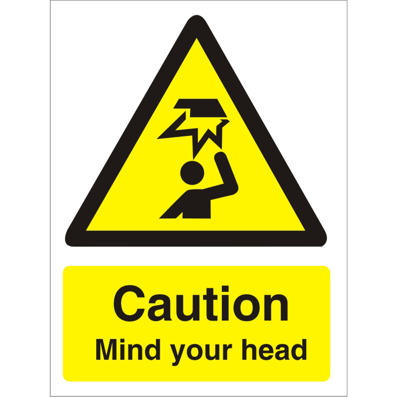 Warning Sign 300x400 1mm Plastic Caution - Mind your head Ref W0178SRP-300x400 *Up to 10 Day Leadtime*