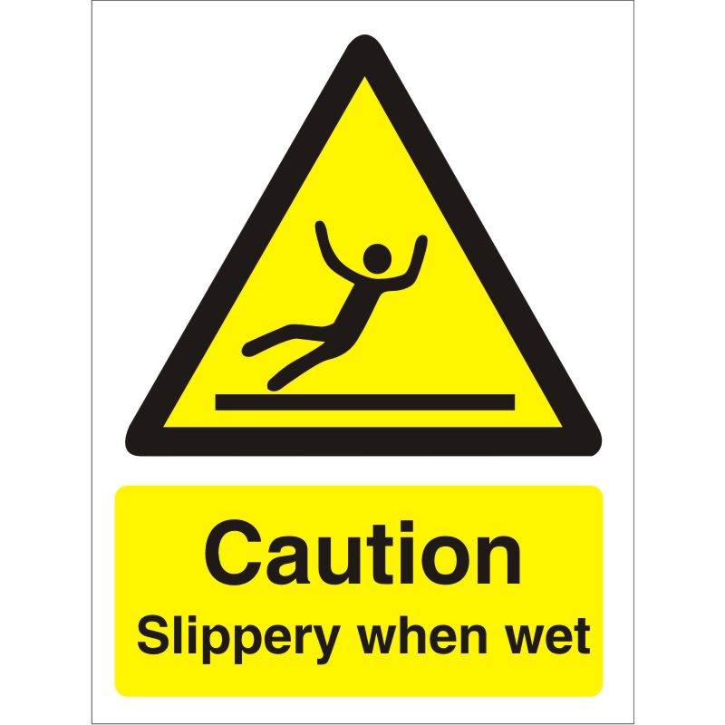 Warning Sign 300x400 1mm Plastic Caution Slippery when wet Ref W0179SRP300x400 *Up to 10 Day Leadtime*