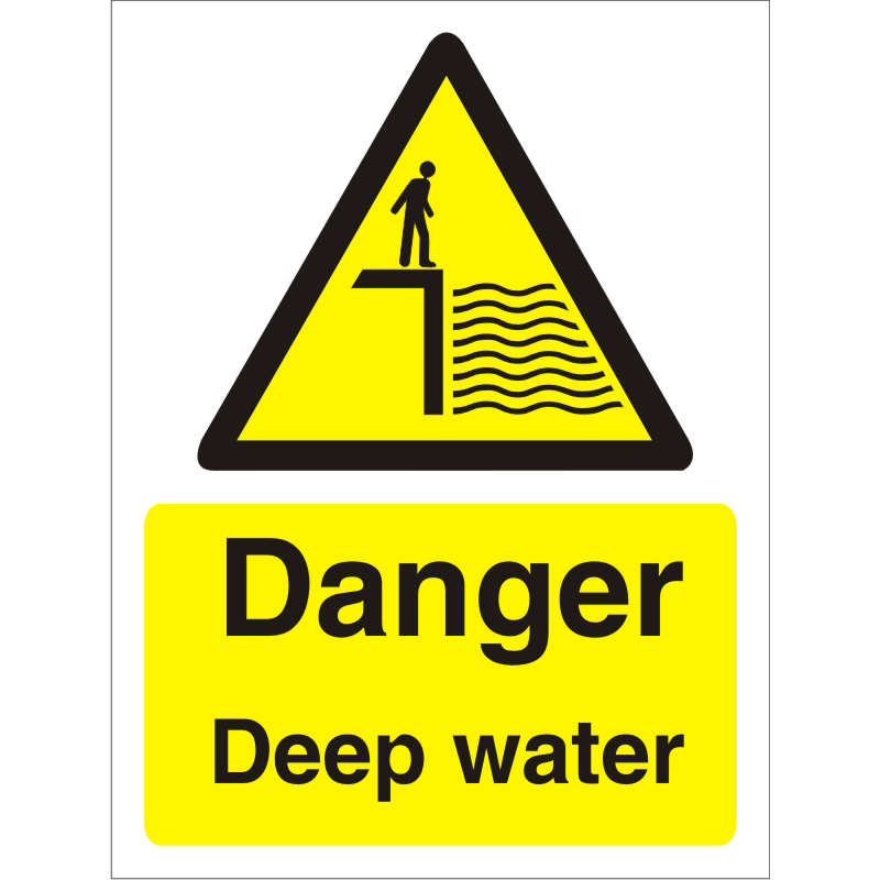 Warning Sign 300x400 1mm Plastic Danger - Deep water Ref W0180SRP-300x400 Up to 10 Day Leadtime