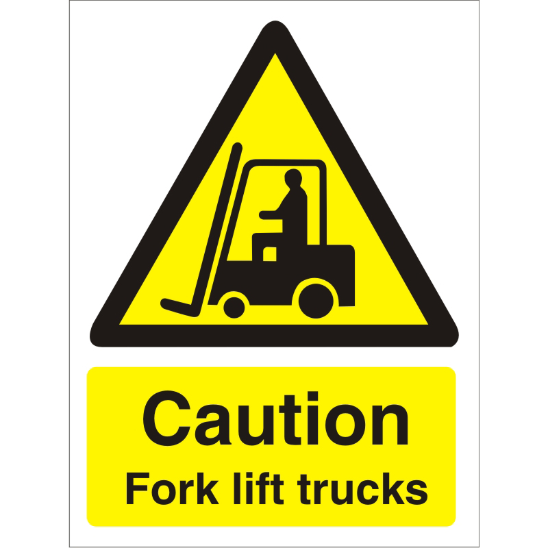 Warning Sign 300x400 1mm Plastic Caution - Fork lift trucks Ref W0183SRP-300x400 Up to 10 Day Leadtime