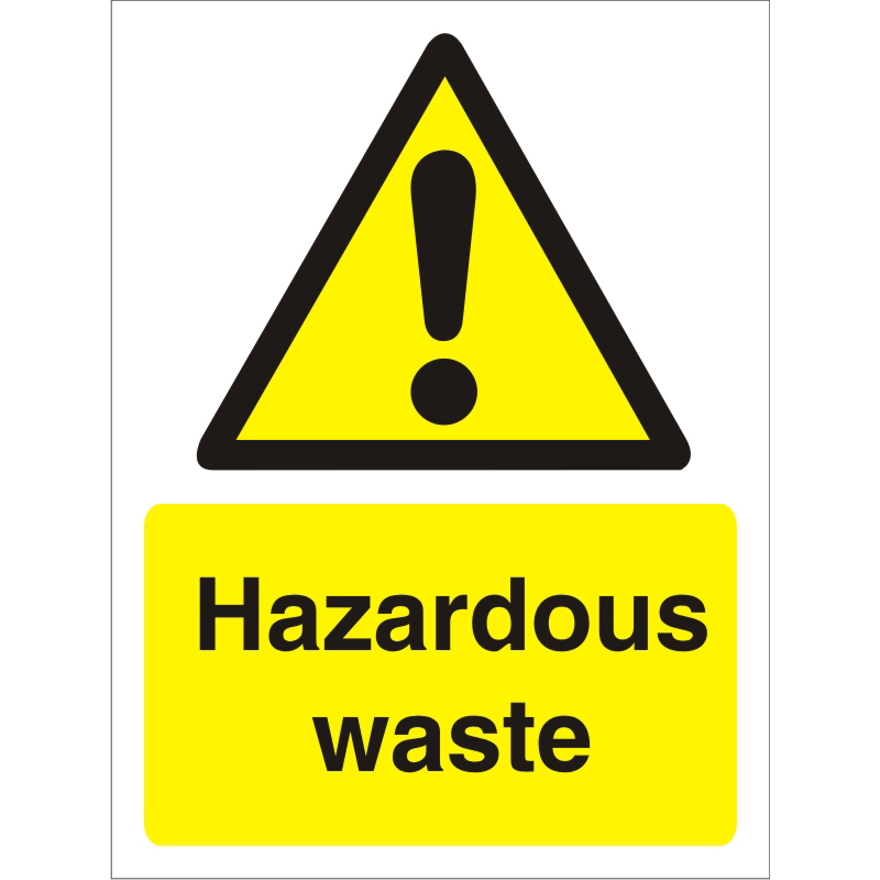 Warning Sign 300x400 1mm Semi Rigid Plastic Hazardous waste Ref W0193SRP-300x400 *Up to 10 Day Leadtime*