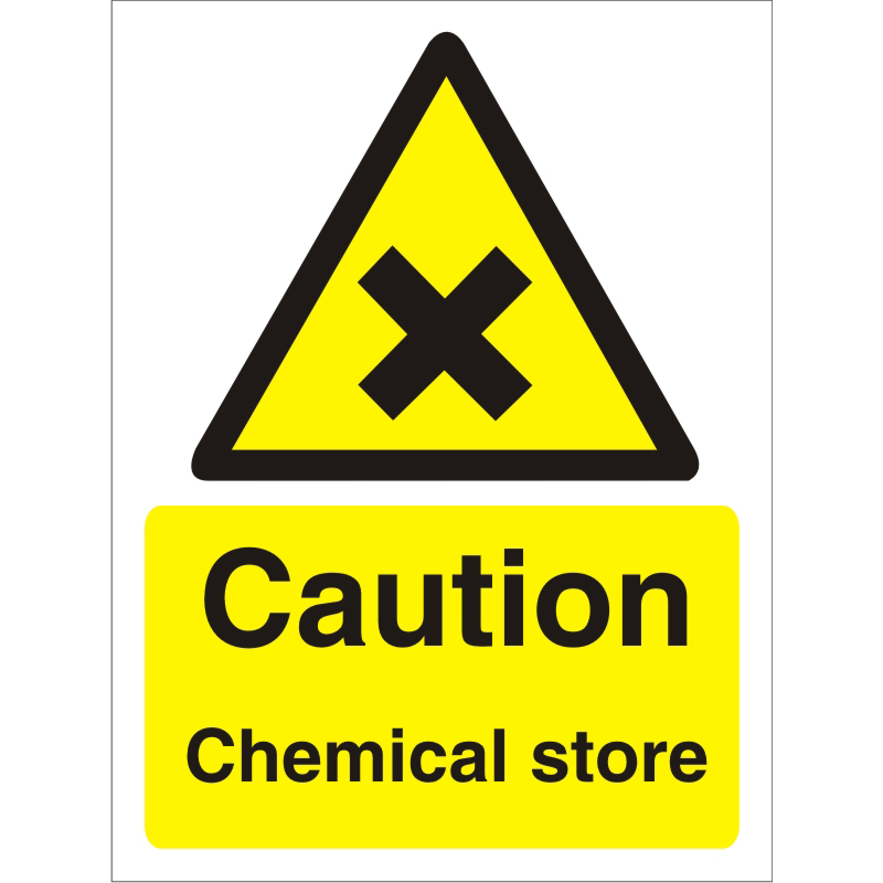 Warning Sign 300x400 1mm Plastic Caution - Chemical store Ref W0197SRP-300x400 Up to 10 Day Leadtime