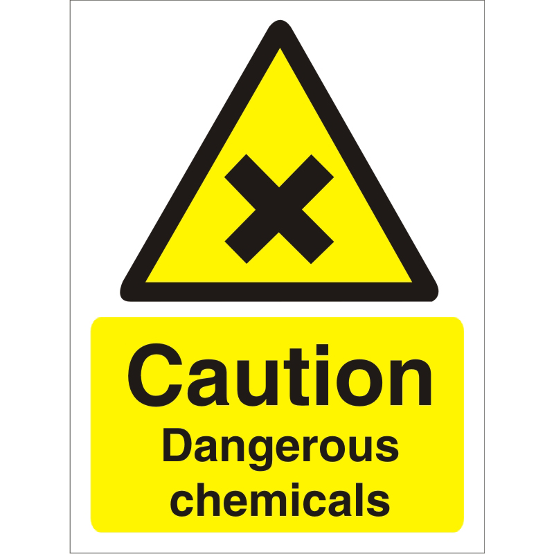 Warning Sign 300x400 1mm Plastic Caution Dangerous chemicals Ref W0200SRP300x400 Up to 10 Day Leadtime
