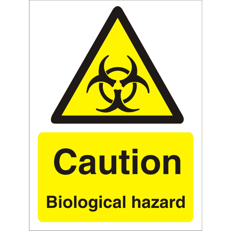 Warning Sign 300x400 1mm Plastic Caution Biological hazard Ref W0203SRP300x400 *Up to 10 Day Leadtime*