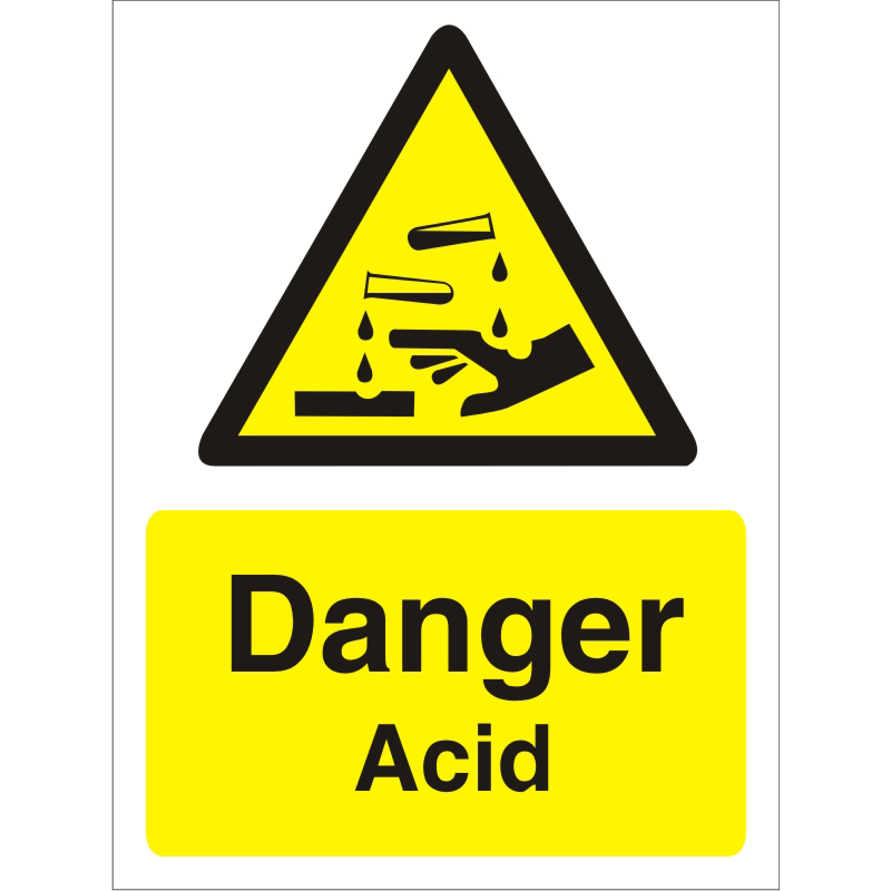 Warning Sign 300x400 1mm Semi Rigid Plastic Danger - Acid Ref W0207SRP-300x400 *Up to 10 Day Leadtime*
