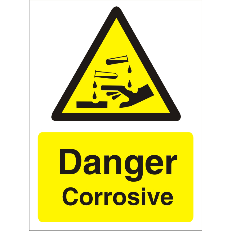 Warning Sign 300x400 1mm Plastic Danger - Corrosive Ref W0208SRP-300x400 *Up to 10 Day Leadtime*