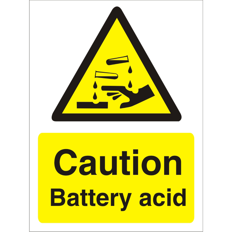 Warning Sign 300x400 1mm Plastic Caution - Battery acid Ref W0210SRP-300x400 Up to 10 Day Leadtime