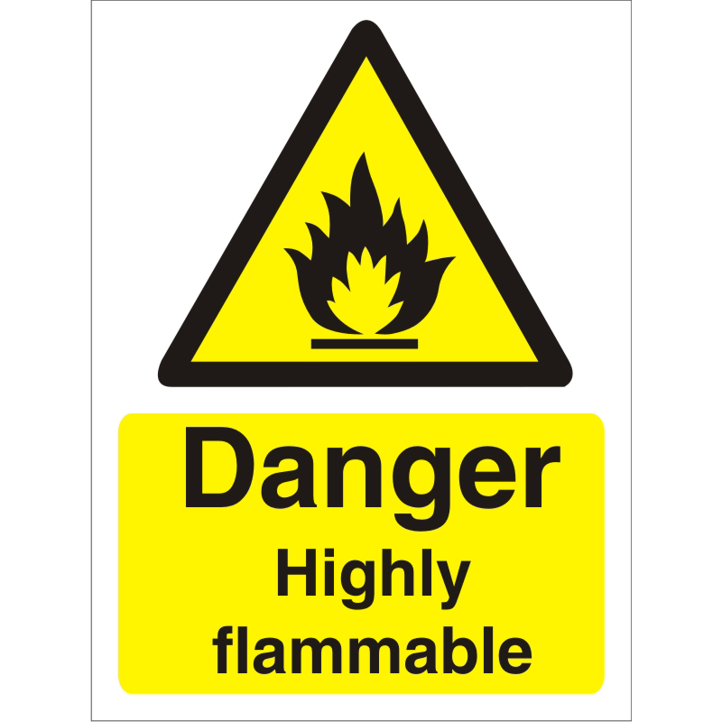 Warning Sign 300x400 1mm Plastic Danger - Highly flammable Ref W0212SRP-300x400 *Up to 10 Day Leadtime*
