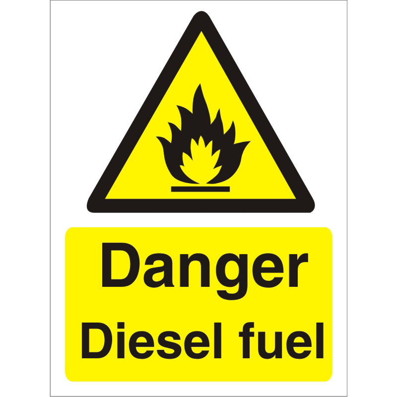 Warning Sign 300x400 1mm Plastic Danger - Diesel fuel Ref W0218SRP-300x400 Up to 10 Day Leadtime