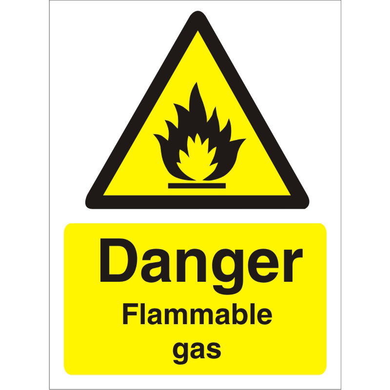 Warning Sign 300x400 1mm Plastic Danger - Flammable gas Ref W0220SRP-300x400 Up to 10 Day Leadtime