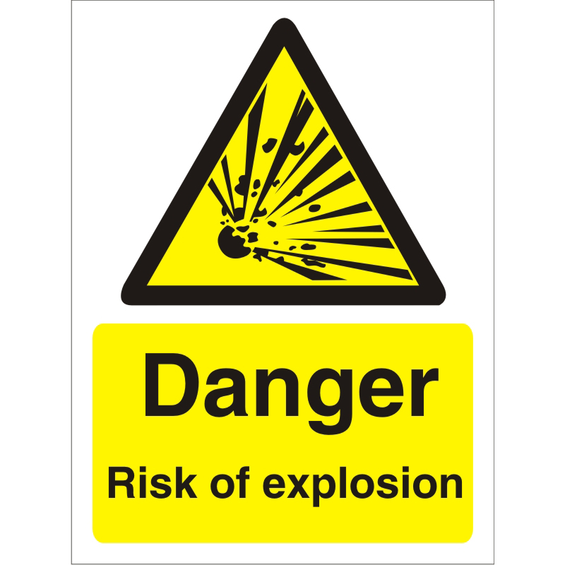 Warning Sign 300x400 1mm Plastic Danger - Risk of explosion Ref W0227SRP-300x400 *Up to 10 Day Leadtime*