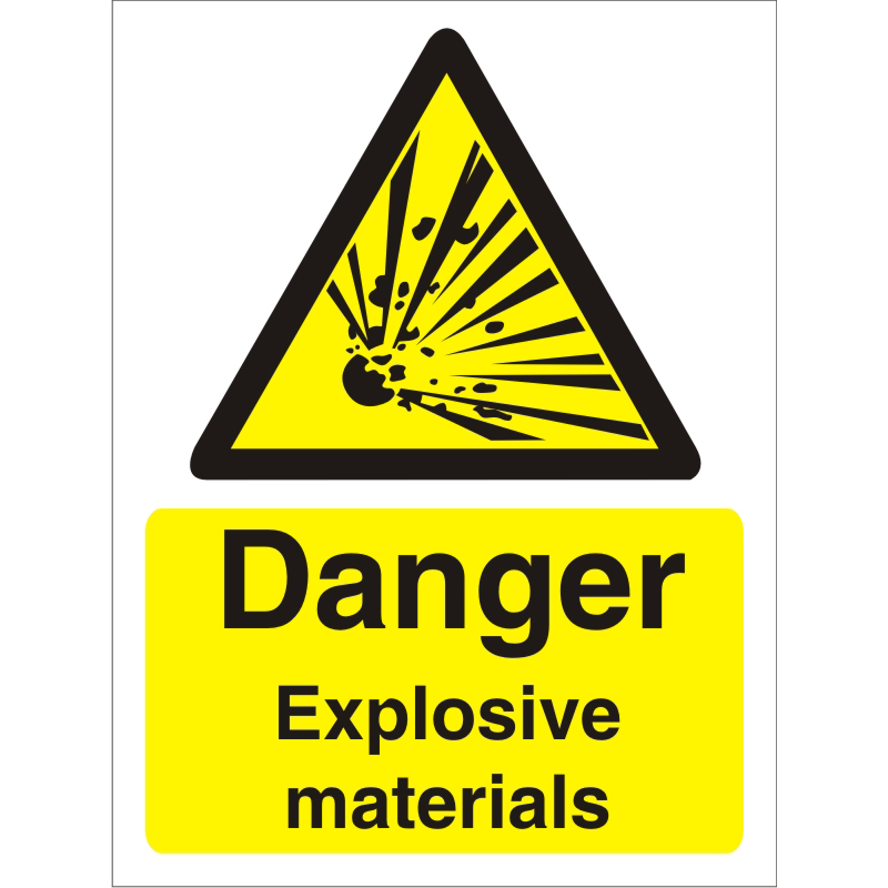 Image for Warning Sign 300x400 1mm Plastic Danger Explosive materials Ref W0228SRP300x400 Up to 10 Day Leadtime