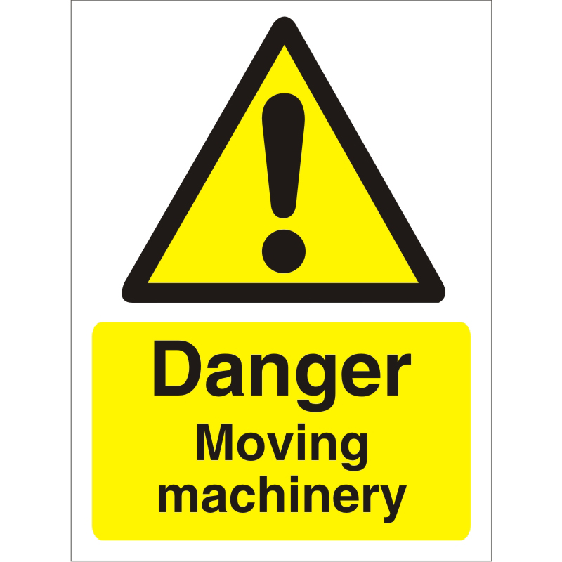 Warning Sign 300x400 1mm Plastic Danger - Moving machinery Ref W0238SRP-300x400 *Up to 10 Day Leadtime*