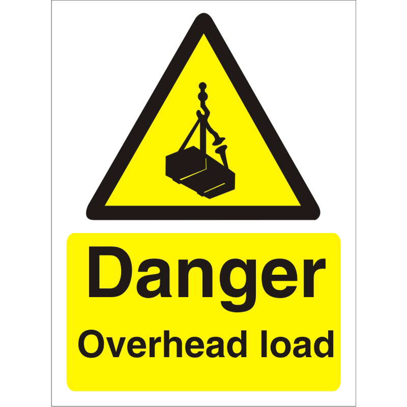 Warning Sign 300x400 1mm Plastic Danger - Overhead load Ref W0242SRP-300x400 *Up to 10 Day Leadtime*