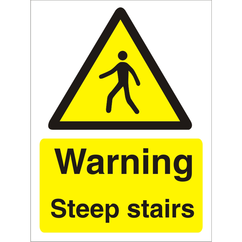 Warning Sign 300x400 1mm Plastic Warning - Steep stairs Ref W0249SRP-300x400 Up to 10 Day Leadtime