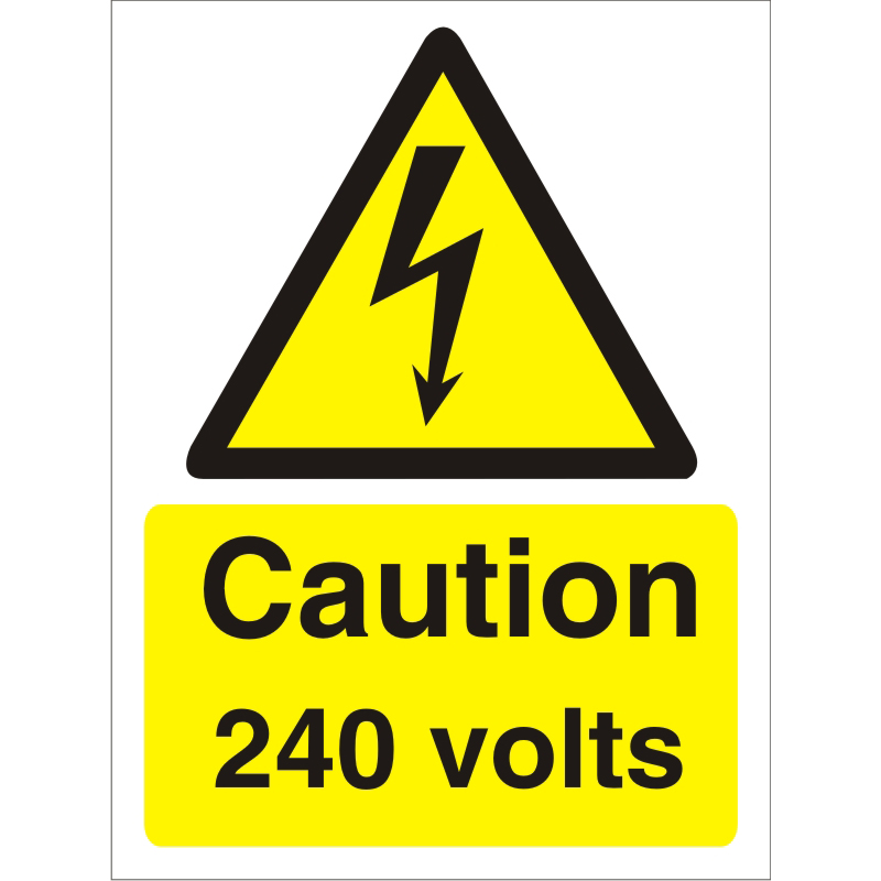 Warning Sign 300x400 1mm Plastic Caution - 240 volts Ref W0250SRP-300x400 *Up to 10 Day Leadtime*