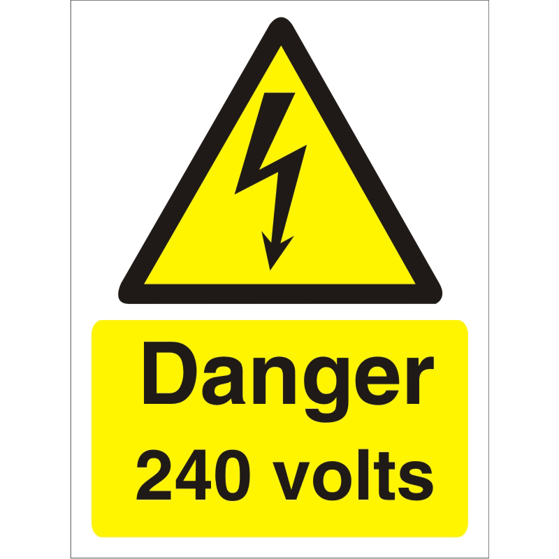 Warning Sign 300x400 1mm Plastic Danger - 240 volts Ref W0251SRP-300x400 *Up to 10 Day Leadtime*