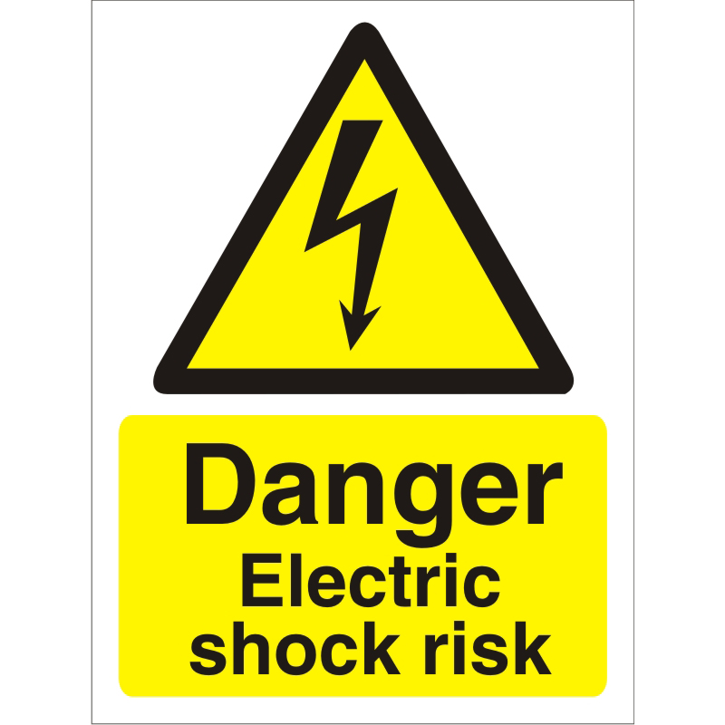 Image for Warning Sign 300x400 1mm Plastic Danger Electric shock risk Ref W0258SRP300x400 Up to 10 Day Leadtime