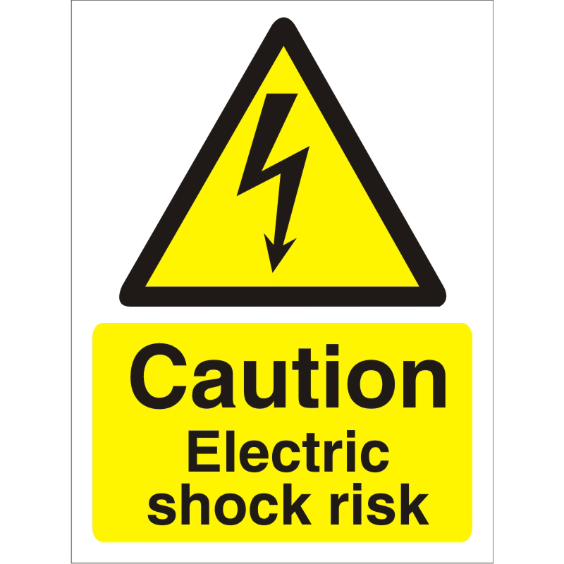 Warning Sign 300x400 1mm Plastic Caution Electric shock risk Ref W0259SRP300x400 *Up to 10 Day Leadtime*
