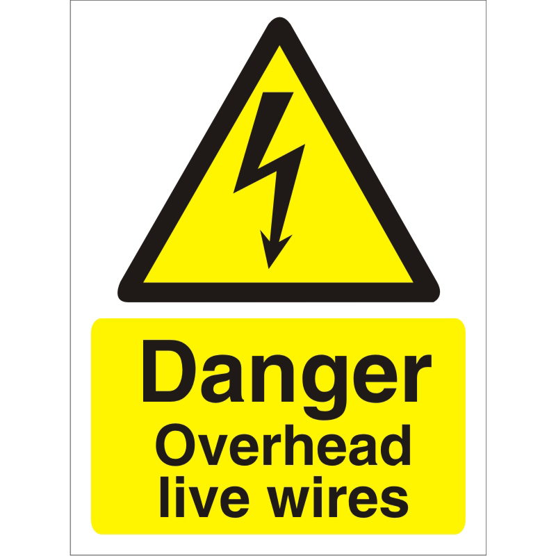 Image for Warning Sign 300x400 1mm Plastic Danger Overhead live wires Ref W0263SRP300x400 Up to 10 Day Leadtime