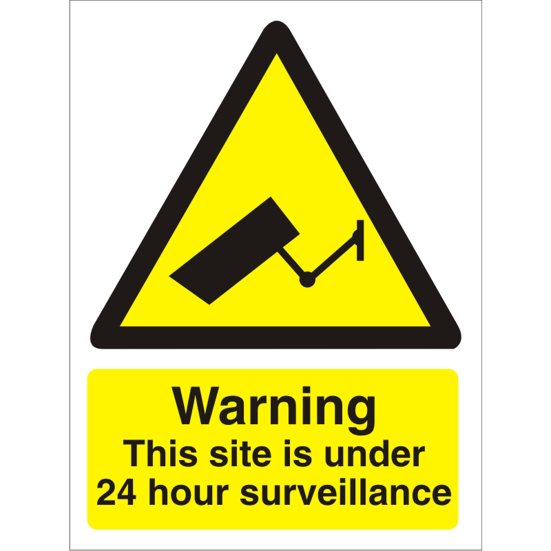 Warning Sign 300x400 1mm Warning This site under 24 hour .. Ref W0270SRP300x400 *Up to 10 Day Leadtime*