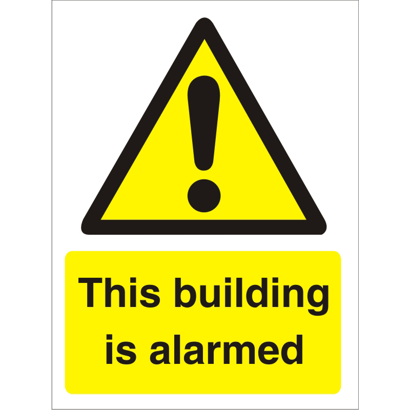 Warning Sign 300x400 1mm Plastic This building is alarmed Ref W0279SRP-300x400 *Up to 10 Day Leadtime*