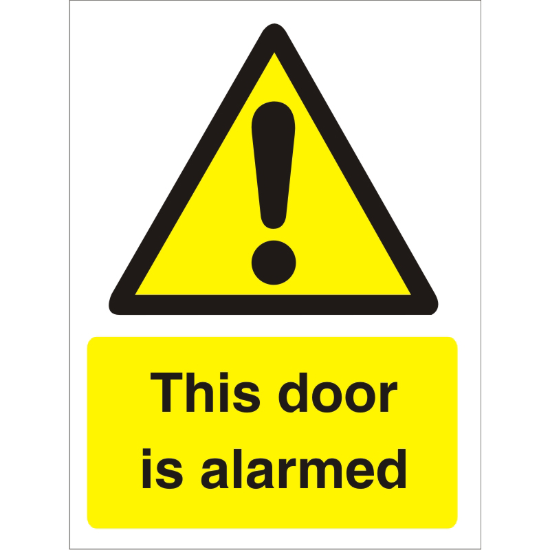 Warning Sign 300x400 1mm Plastic This door is alarmed Ref W0280SRP-300x400 Up to 10 Day Leadtime