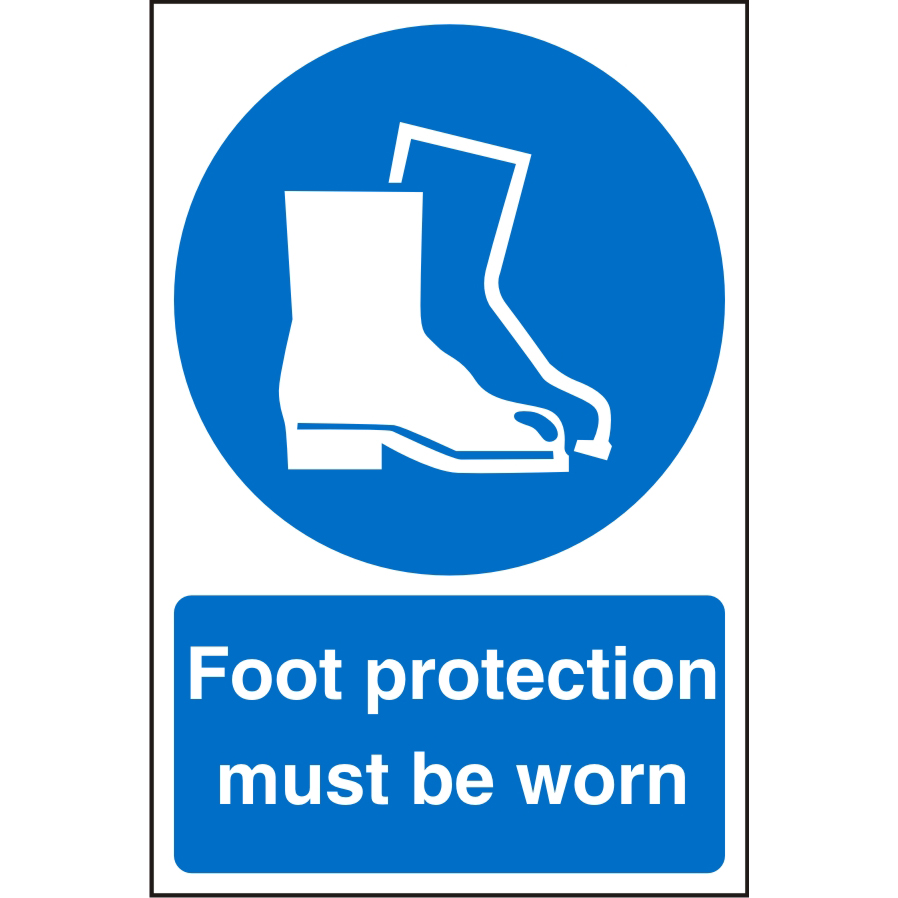WarehouseSign 400x600 Plastic Foot protection must be worn Ref WPM03SRP400x600 Up to 10 Day Leadtime