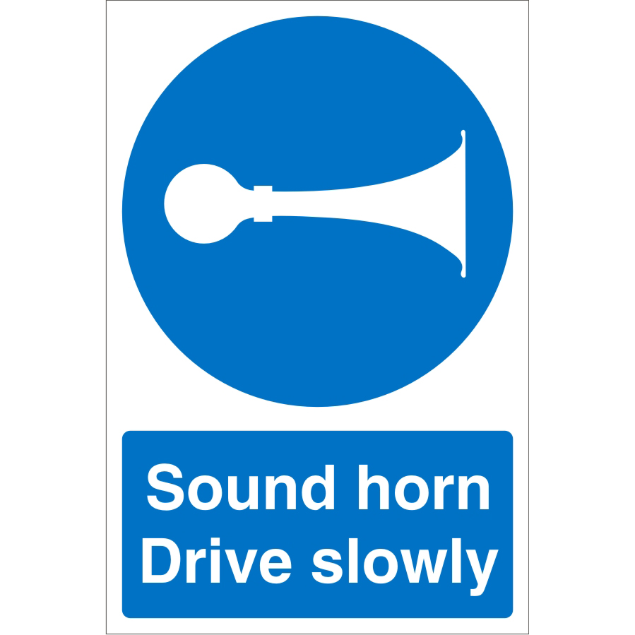 Warehouse Sign 400x600 1mm Plastic Sound horn Drive slowly Ref WPM06SRP-400x600 *Up to 10 Day Leadtime*