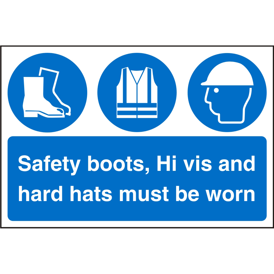 Warehouse Sign 600x400 boots Hivis&hard hats must be worn Ref WPM08SRP600x400 *Up to 10 Day Leadtime*