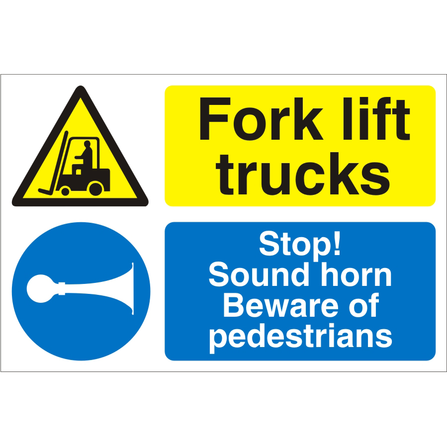 Warehouse Sign 600x400 1mm Plastic Fork lift trucks - Stop Ref WPM09SRP-600x400 *Up to 10 Day Leadtime*
