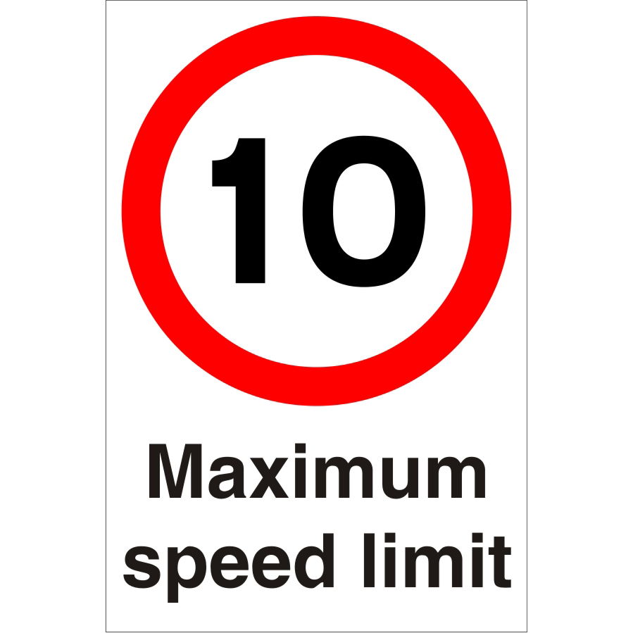 Warehouse Sign 400x600 1mm Plastic 10 Maximum speed limit Ref WPP02SRP-400x600 Up to 10 Day Leadtime