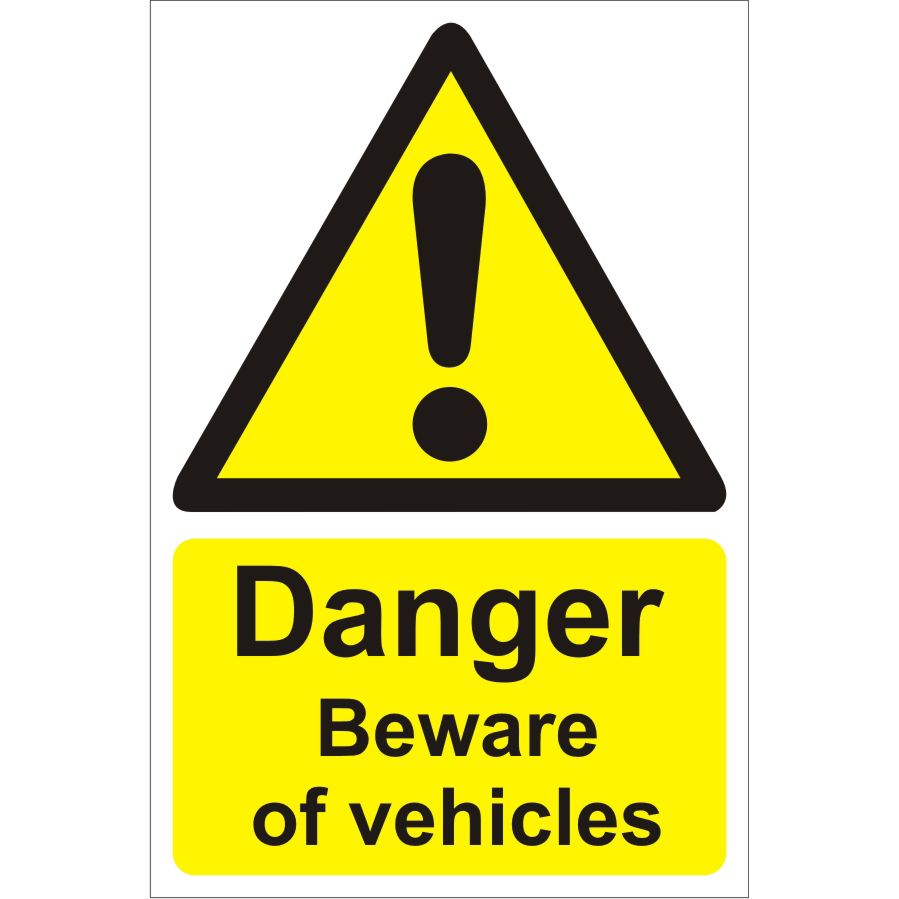 Warehouse Sign 400x600 1mm Plastic Danger beware of vehicles Ref WPW02SRP400x600 *Up to 10 Day Leadtime*