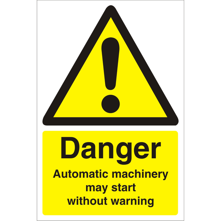Warehouse Sign 400x600 Plastic Danger Automatic machinery Ref WPW05SRP400x600 *Up to 10 Day Leadtime*