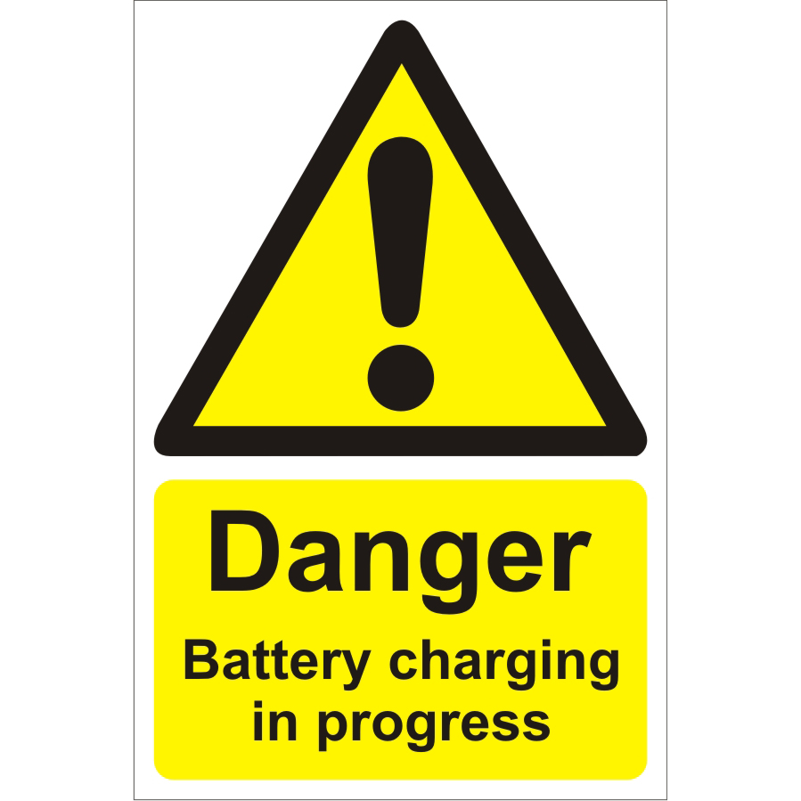 Warehouse Sign 400x600 1mm Plastic Danger battery charging Ref WPW06SRP-400x600 *Up to 10 Day Leadtime*