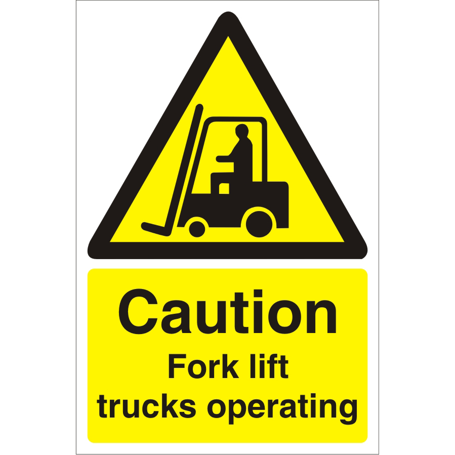 Warehouse Sign 400x600 1mm Plastic Caution Fork lift trucks Ref WPW07SRP-400x600 *Up to 10 Day Leadtime*