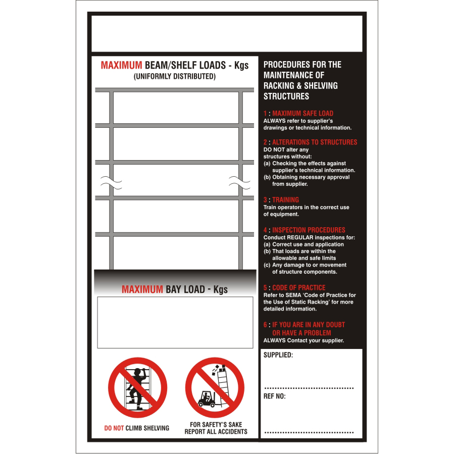 Warehouse Sign 400x600 1mm Plastic Maximum beam/shelf loads Ref WPW11SRP-400x600 *Up to 10 Day Leadtime*
