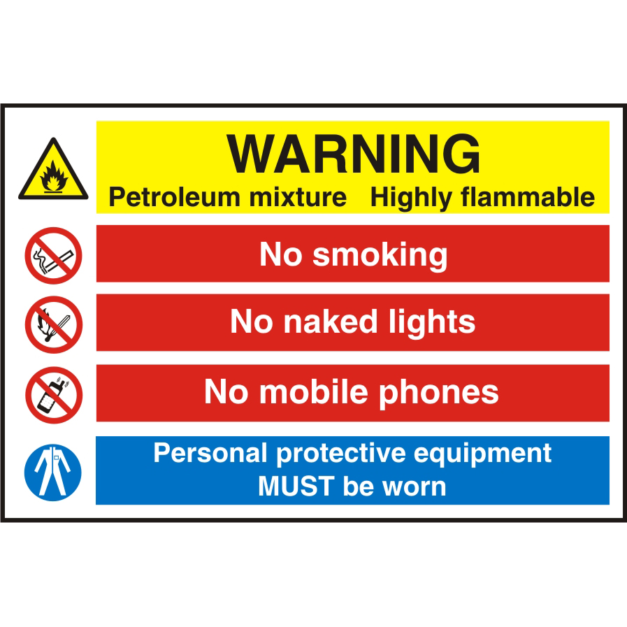 Warehouse Sign 600x400 1mm Plastic Warning Petroleum mixture Ref WPW13SRP600x400 *Up to 10 Day Leadtime*